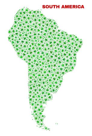 Vector marijuana South America map mosaic. Concept with green weed leaves for marijuana legalize campaign. Vector South America map is composed from marijuana leaves.