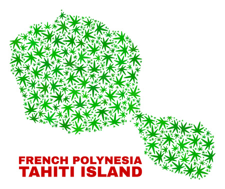 Vector marijuana Tahiti Island map collage. Concept with green weed leaves for weed legalize campaign. Vector Tahiti Island map is composed with marijuana leaves. Illustration