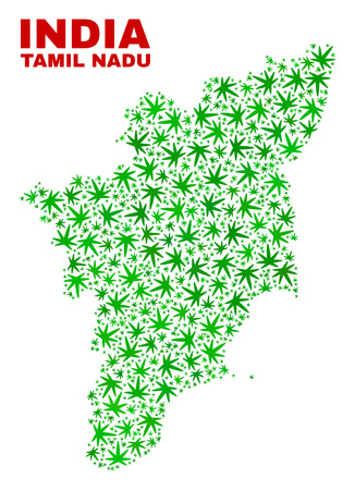 Vector cannabis Tamil Nadu State map collage. Template with green weed leaves for cannabis legalize campaign. Vector Tamil Nadu State map is formed with cannabis leaves.