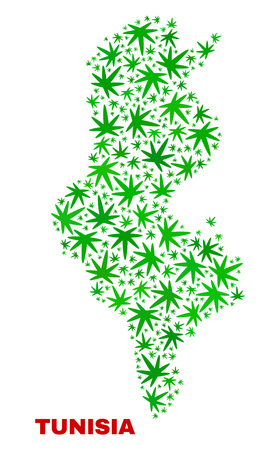 Vector cannabis Tunisia map mosaic. Template with green weed leaves for marijuana legalize campaign. Vector Tunisia map is formed with marijuana leaves. Ilustração