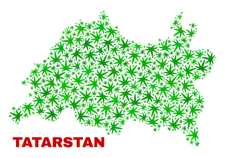 Vector cannabis Tatarstan map collage. Template with green weed leaves for weed legalize campaign. Vector Tatarstan map is formed with weed leaves.
