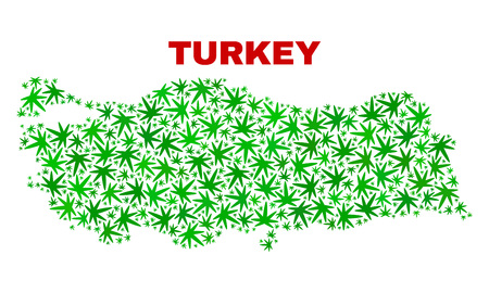 Vector marijuana Turkey map collage. Concept with green weed leaves for weed legalize campaign. Vector Turkey map is formed with weed leaves.