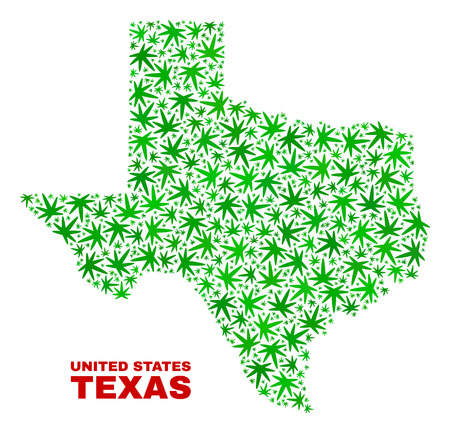 Vector marijuana Texas State map collage. Template with green weed leaves for weed legalize campaign. Vector Texas State map is composed of weed leaves. Иллюстрация