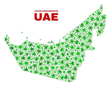 Vector cannabis United Arab Emirates map mosaic. Concept with green weed leaves for cannabis legalize campaign. Vector United Arab Emirates map is designed from cannabis leaves.