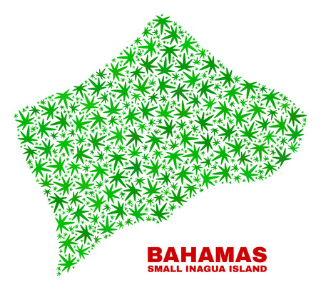 Vector marijuana Small Inagua Island map collage. Template with green weed leaves for weed legalize campaign. Vector Small Inagua Island map is designed from weed leaves.