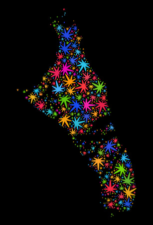 Bright vector marijuana Andros Island of Bahamas map mosaic on a black background. Template with psychedelic herbal leaves for cannabis legalize campaign. Ilustrace