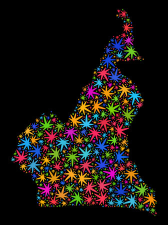 Bright vector cannabis Cameroon map collage on a black background. Concept with bright weed leaves for cannabis legalize campaign. Vector Cameroon map is organized with cannabis leaves.