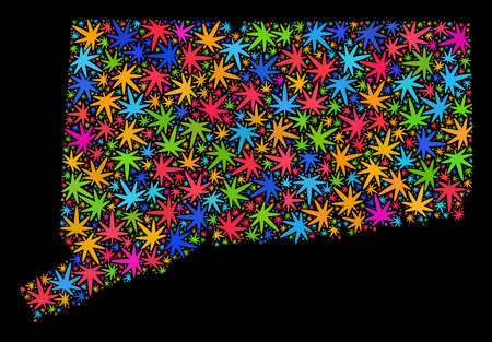 Bright vector cannabis Connecticut State map collage on a black background. Concept with colorful weed leaves for weed legalize campaign. Vector Connecticut State map is organized with weed leaves.
