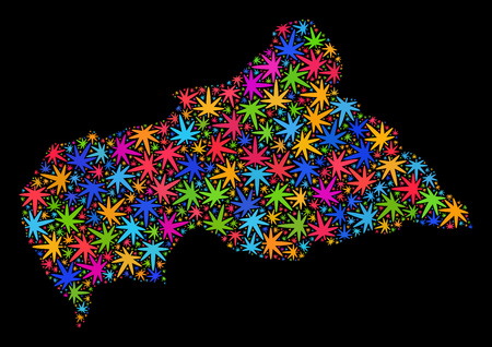 Bright vector marijuana Central African Republic map collage on a black background. Concept with bright weed leaves for weed legalize campaign.