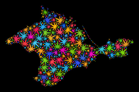 Bright vector cannabis Crimea map mosaic on a black background. Concept with psychedelic weed leaves for cannabis legalize campaign. Vector Crimea map is organized from cannabis leaves.