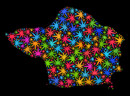 Bright vector cannabis Faial Island map collage on a black background. Concept with bright herbal leaves for cannabis legalize campaign. Vector Faial Island map is designed with herbal leaves.