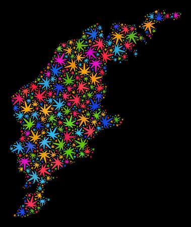 Bright vector cannabis Gotland Island map collage on a black background. Concept with psychedelic weed leaves for cannabis legalize campaign. Vector Gotland Island map is created with cannabis leaves.