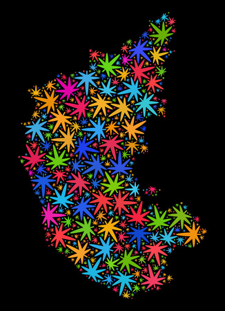 Bright vector marijuana Karnataka State map collage on a black background. Template with bright herbal leaves for weed legalize campaign. Vector Karnataka State map is composed with herbal leaves. Illustration
