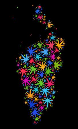 Bright vector marijuana Krasnoyarskiy Kray map collage on a black background. Template with bright herbal leaves for marijuana legalize campaign. Illustration