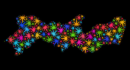 Bright vector cannabis Pernambuco State map collage on a black background. Template with multi-colored herbal leaves for cannabis legalize campaign. Illustration