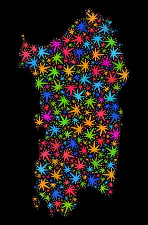 Bright vector marijuana Sardinia map mosaic on a black background. Concept with multi-colored herbal leaves for marijuana legalize campaign. Vector Sardinia map is created with cannabis leaves.
