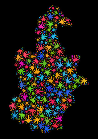 Bright vector cannabis Tianjin City map collage on a black background. Template with colorful herbal leaves for marijuana legalize campaign. Illustration