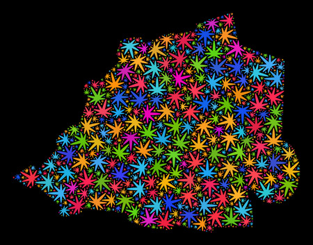 Bright vector cannabis Vatican map mosaic on a black background. Concept with bright weed leaves for weed legalize campaign. Vector Vatican map is constructed from weed leaves.