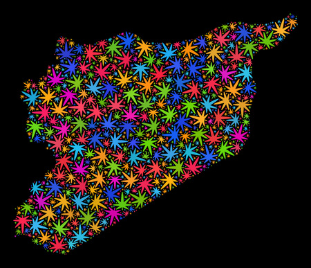 Bright vector cannabis Syria map mosaic on a black background. Template with psychedelic weed leaves for cannabis legalize campaign. Vector Syria map is composed with weed leaves.