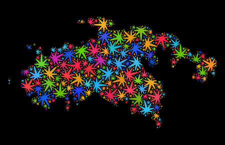 Bright vector marijuana Saint John Island map collage on a black background. Template with colored weed leaves for marijuana legalize campaign. Vettoriali