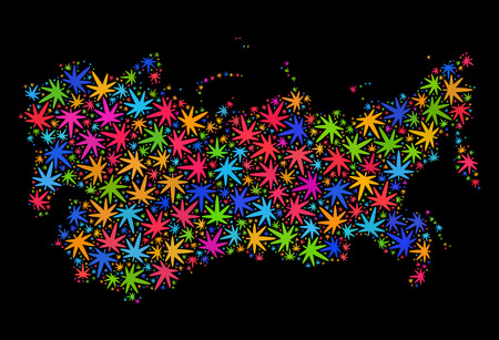 Bright vector cannabis Soviet Union map collage on a black background. Concept with colorful weed leaves for weed legalize campaign. Vector Soviet Union map is constructed of weed leaves.