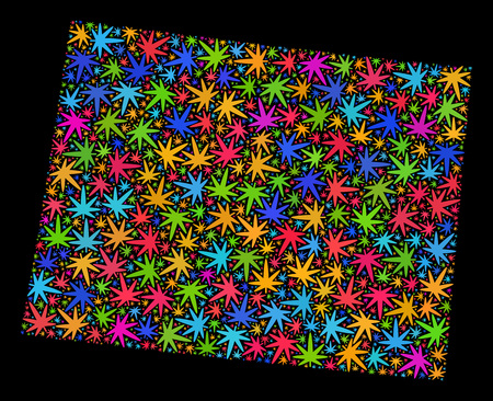 Bright vector marijuana Wyoming State map mosaic on a black background. Concept with bright weed leaves for weed legalize campaign. Vector Wyoming State map is designed from marijuana leaves.