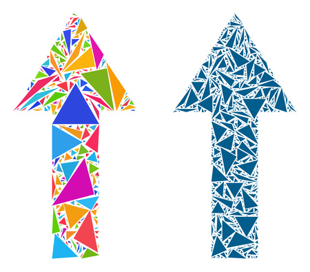 Triangle mosaic Arrow up icons composed of triangle elements in variable sizes, positions and proportions. Vector triangular polygons are composed into abstract collage arrow up icons,
