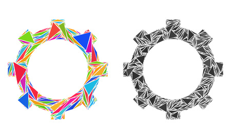 Triangle collage Cog icons united from triangle items in different sizes, positions and proportions. Vector triangular polygons are united into abstract composition cog icons,