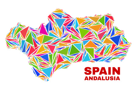 Mosaic Andalusia Province map of triangles in bright colors isolated on a white background. Triangular collage in shape of Andalusia Province map. Abstract design for patriotic illustrations.