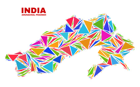 Mosaic Arunachal Pradesh State map of triangles in bright colors isolated on a white background. Triangular collage in shape of Arunachal Pradesh State map. Abstract design for patriotic decoration.