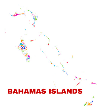 Mosaic Bahamas Islands map of triangles in bright colors isolated on a white background. Triangular collage in shape of Bahamas Islands map. Abstract design for patriotic purposes.