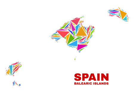 Mosaic Balearic Islands map of triangles in bright colors isolated on a white background. Triangular collage in shape of Balearic Islands map. Abstract design for patriotic purposes.