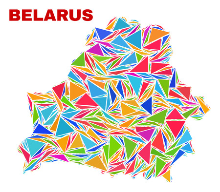Mosaic Belarus map of triangles in bright colors isolated on a white background. Triangular collage in shape of Belarus map. Abstract design for patriotic purposes.