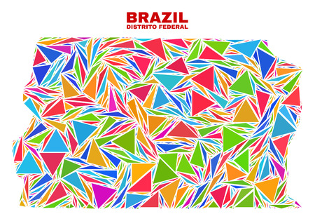 Mosaic Brazil Distrito Federal map of triangles in bright colors isolated on a white background. Triangular collage in shape of Brazil Distrito Federal map. Abstract design for patriotic purposes. Vektoros illusztráció