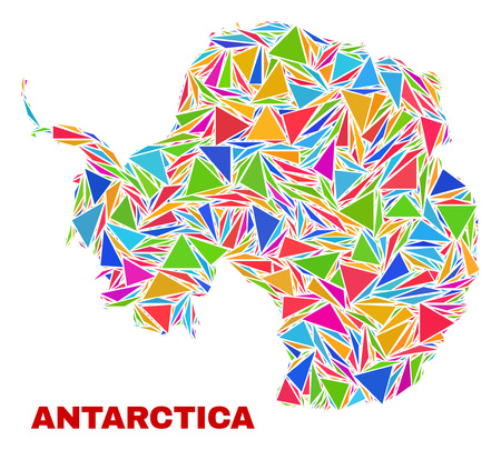 Mosaic Antarctica continent map of triangles in bright colors isolated on a white background. Triangular collage in shape of Antarctica continent map. Abstract design for patriotic decoration.