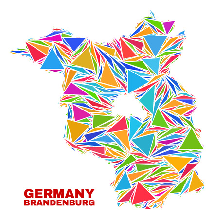 Mosaic Brandenburg Land map of triangles in bright colors isolated on a white background. Triangular collage in shape of Brandenburg Land map. Abstract design for patriotic illustrations.