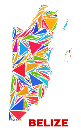 Mosaic Belize map of triangles in bright colors isolated on a white background. Triangular collage in shape of Belize map. Abstract design for patriotic decoration.
