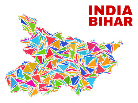 Mosaic Bihar State map of triangles in bright colors isolated on a white background. Triangular collage in shape of Bihar State map. Abstract design for patriotic decoration.