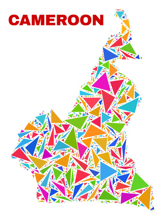 Mosaic Cameroon map of triangles in bright colors isolated on a white background. Triangular collage in shape of Cameroon map. Abstract design for patriotic illustrations.