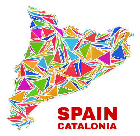 Mosaic Catalonia map of triangles in bright colors isolated on a white background. Triangular collage in shape of Catalonia map. Abstract design for patriotic purposes. 일러스트