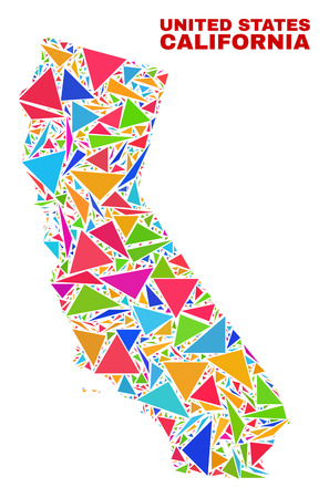 Mosaic California State map of triangles in bright colors isolated on a white background. Triangular collage in shape of California State map. Abstract design for patriotic decoration.