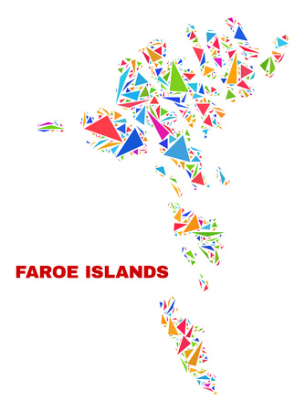 Mosaic Faroe Islands map of triangles in bright colors isolated on a white background. Triangular collage in shape of Faroe Islands map. Abstract design for patriotic decoration.