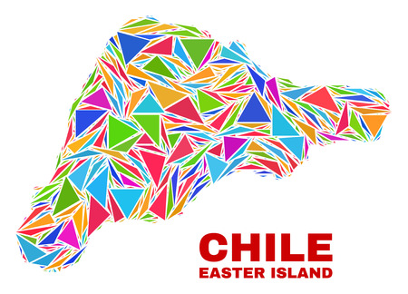 Mosaic Easter Island map of triangles in bright colors isolated on a white background. Triangular collage in shape of Easter Island map. Abstract design for patriotic purposes.