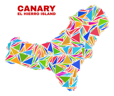 Mosaic El Hierro Island map of triangles in bright colors isolated on a white background. Triangular collage in shape of El Hierro Island map. Abstract design for patriotic illustrations.