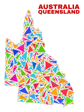 Mosaic Australian Queensland map of triangles in bright colors isolated on a white background. Triangular collage in shape of Australian Queensland map. Abstract design for patriotic purposes.