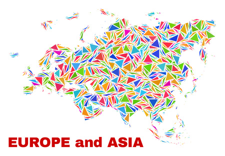 Mosaic Europe and Asia map of triangles in bright colors isolated on a white background. Triangular collage in shape of Europe and Asia map. Abstract design for patriotic illustrations.