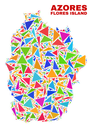 Mosaic Flores Island of Azores map of triangles in bright colors isolated on a white background. Triangular collage in shape of Flores Island of Azores map.