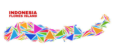 Mosaic Flores Island of Indonesia map of triangles in bright colors isolated on a white background. Triangular collage in shape of Flores Island of Indonesia map. 向量圖像