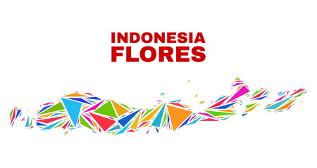 Mosaic Flores Islands of Indonesia map of triangles in bright colors isolated on a white background. Triangular collage in shape of Flores Islands of Indonesia map. 向量圖像
