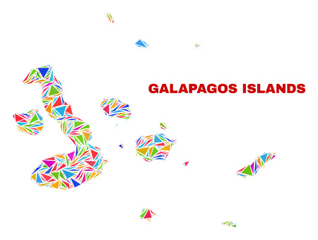 Mosaic Galapagos Islands map of triangles in bright colors isolated on a white background. Triangular collage in shape of Galapagos Islands map. Abstract design for patriotic illustrations. Foto de archivo - 120022808